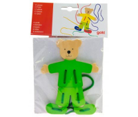 Развивающая игрушка Goki Шнуровка Медведь с одеждой (58929)