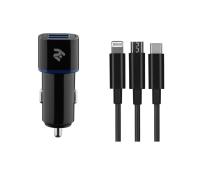 Зарядное устройство 2E Car 2хUSB 2.4A + кабель 3в1 Lightning/microUSB/Type-C), blac (2E-ACR01-C3IN1)