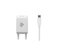 Зарядное устройство 2E USB Wall Charger USB:DC5V/2.1A +кабель MicroUSB 2.4A, white (2E-WC1USB2.1A-CM)